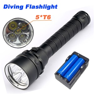 10000 Lumens Torch 5 x T6 Diving LED Flashlight  200M Underwater Waterproof Light Tactical Flashlight Torch Lantern
