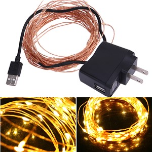 10m/32.8ft 100 LED waterproof copper wire string lights 5V USB Warm White US Plug Christmas Festival Wedding Party Decoration