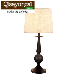 Qiseyuncai American style village simple iron desk lamp bedroom study living room remote control toning dimming lighting