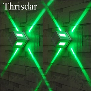 Thrisdar 3PCS Outdoor LED Cross Star Porch Wall Lamp 3W Waterproof LED Spotlight Square KTV Hotel Engineering Wall Light