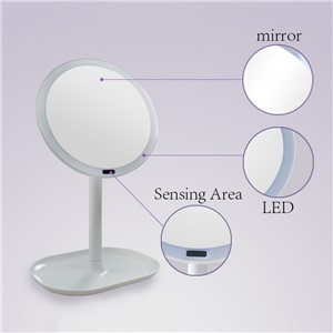 2 In 1 Table Lamp Makeup Mirror Rechargeable Motion Sensor LED Light Mirror USB 360 Rotation Mirror Infrared Induction P15