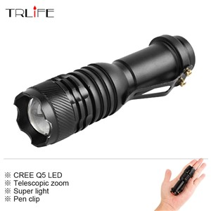 Mini 3000lm CREE XM-Q5 3-mode Zoom LED Flashlight Super Light Torch Lantern Portable Waterproof Flash Light for AA/14500 Battery