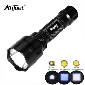 ANJOET C8 Self-defense flashlight 5 modes XML T6 Q5 L2 LED 1198LM Aluminum Single file Tactics Torches Lamp for Camping Cycling