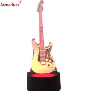 Guitar Model Illusion 3D Night Lamp 3D Light Electric LED 7 Color Changing USB Touch Sensor Desk Light Night Light