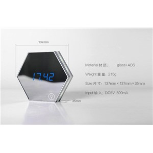Multi-functional mirror LED night lamp USB rechargeable LED night lamp with mirror alarm clock and thermometer