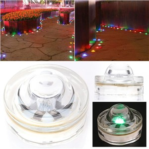 Solar Powered 6LED Outdoor Pathway Glass Road Step Lights Lighting Green
