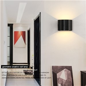 L44-Outdoor waterproof wall lamp square semi-circular adjustable light angle up and down light aluminum Indoor decor wall lamp