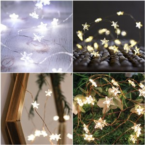 LAIDEYI 3M 30 LED Star Copper Wire String Lights Fairy Lights Christmas Wedding Decoration Lights Battery Operate Twinkle Lights