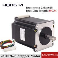 1PC Nema23 Stepper Motor 23HS7628 4-Lead 270oz-in 76mm 2.8A Bipolar CE ISO ROHS CNC Router Engraving Machine
