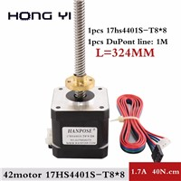 Nema17 Screw Stepper Motor 17HS4401S-M8x8-324MM with Copper Nut Lead 8mm for 3D Printer Z Axis Long Screw