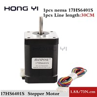 Free Shipping 17HS6401 Nema17 Stepper Motor 60mm / 2-Phase Hybrid Stepper Motor (1.8A, 0.73NM, 60mm, 4-Wire) Stepper Motor CNC