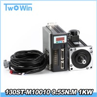 1KW 130ST-M10010 9.55N. M 1000rpm AC Servo Motor Kits CNC Sewing Machine Motor 1000w 130st M10010 Matched Driver with Cable