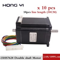 10pcsCNC Stepper Motor Double Shaft NEMA 23 57x76mm Stepping Motor Cnc 189N. Cm for 3D Printer Router Engraving Machine