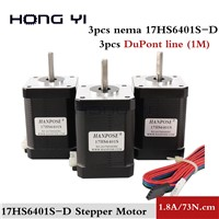 3pcs 3D Printer 17HS6401 Nema 17 Stepper Motor 60mm / 2-Phase Hybrid Stepper Motor 1.8A, 0.73NM, 4-Wire Stepper Moto CNC