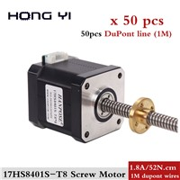 50pcs 17HS8401 Nema17 Stepper Motor + T8 Screw Lead 310mm 42 Motor 42BYGH Mill Cut CNC Engraving Machine T8 Brass Nut