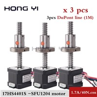 3pcs 17hs4401S- SFU1204 Ballscrew Nema 17 Stepper Motor 1.7A 40N. Cm 12mm Diameter 42BYGH CNC Engraving Machine 3D Printer Motor