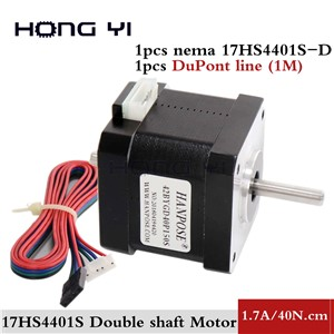 Free Shipping 17HS4401 Two-Axis Motor with 1M DuPont Line Nema17 Stepper Motor Double Output Shaft 1.7A CE ROSH CNC/ 3D Printer