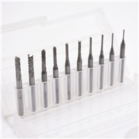 10pcs/Set 1/8 0.8-3.175mm Twist Drill Bits Engraving Cutter Rotary CNC End for PCB Wood Metal Drill Bit Tool Sliver
