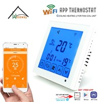 HESSWAY 4p APP WiFi Thermostat Fan Coil Room Temperature Controller Heating for Remote Control by Smartphone