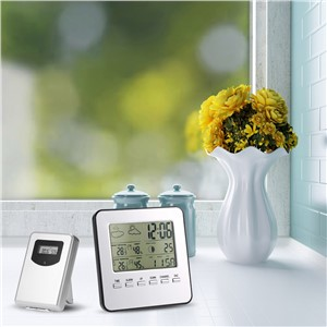 Multi-Functional Wireless Weather Station Clock Indoor Outdoor Thermometer Hygrometer LCD Digital Calendar Alarm Moon Display