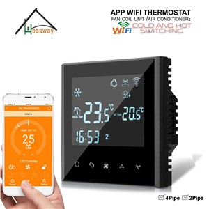 HESSWAY 4P 2P APP Controller Programmable Touch Screen WiFi THERMOSTAT with Fan Coil Unit