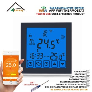 Weekly Programmable Two in One Gas Boiler&Water Heating THERMOSTAT WiFi Temperature Controller for Floor Heating 3A