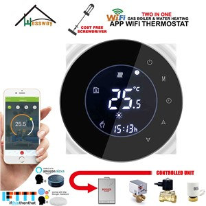 EU Weekly Programmable LCD Touch Screen Room Thermostat WiFi Gas Boiler& Dry Contact Google Home Control for Floor Heating 3A