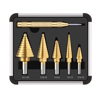 6pcs HSS Titanium Coated Step Drill Bit with Center Punch Drill Set Hole Cutter Drilling Tool Kit Set of Tools for DrillPro New