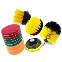 "12pcs Drill Brush Attachment Set Power Scrubber Cleaning Kit Combo Tub Clean Scouring Pad 1/4"" Shank Brushes for Toliet Cleaning"