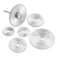 "7pcs HSS Circular Saw Blades Rotary Cutting Tools Kit Set with 1/8"" Shank for Cutting Timber and Plastic"