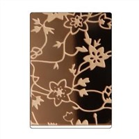 14710 Flower Pattern Etched Golden Colored Stainless Steel Sheets Elevator Decoration Plate