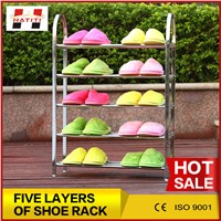 stainless steel five layers metal convenient portable shoes rack