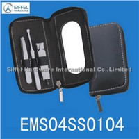 4pcs man manicure kit with mirror in black zipper pouch(EMS04SS0104)