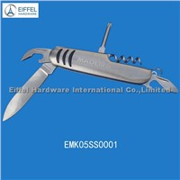 5 in 1 stainless steel pocket knife with laser logo ,two sizes available(EMK05SS0001)