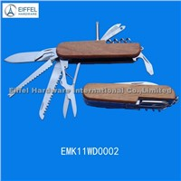 11 in 1 hot sale Multi knife with wood handle(EMK11WD0002)