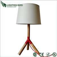 Wood desk lamp with fabric shade