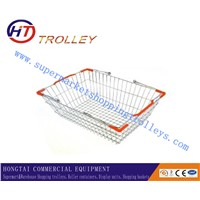 Chrom Plated Supermarket Metal Shopping Basket Unfoldable