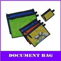 color pp multi-function zipper file mesh bag