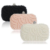 beautiful women's black white color beaded pearl women clutch purse bag handbag for sale
