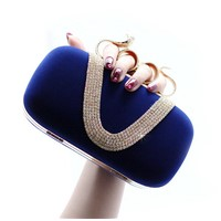 snake diamond u shaped fashion lady evening bag.blue clutch purse bag
