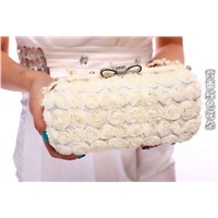 Trendy quality beautiful pearl flower women bag.bridal wedding bag,long chain messenger bag