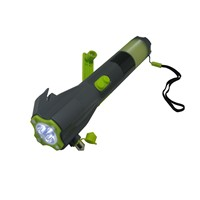 Rechargeable Flashlight with Radio,Hammer,Charger for Cell Phone