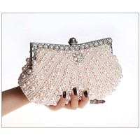 pearl beaded day clutch bag. fashionable great diamond white clutch purse with long chain