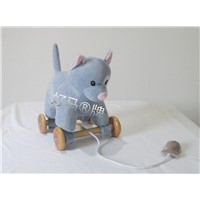 plush pulling animal toy with wheels