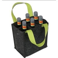red 4 bottle bag, felt wine bag with handle