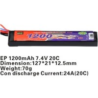 Airsoft gun battery pack with 1300mAh capacity 20C discharge rate