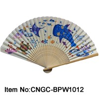 Cute and practical promotional gift paper bamboo fan