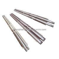 conical twin barrel and screw for plastic extruder