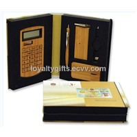 Bamboo USB Hub Mouse Pen Kit and Solar Digital Calculator