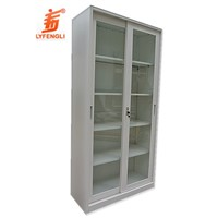Office Sliding Glass Door Metal Bookcase